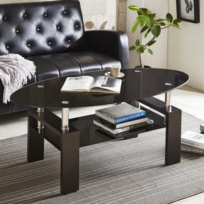 楕円ガラステーブル!中天板付!ブラック色